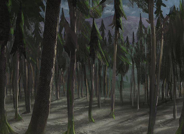 forest dusk painting