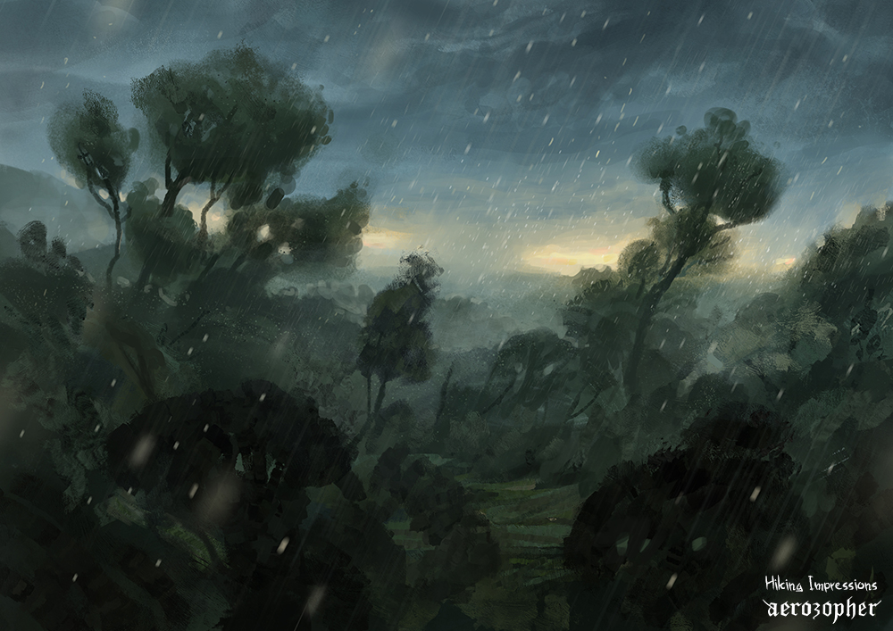 rainy forest storm coming